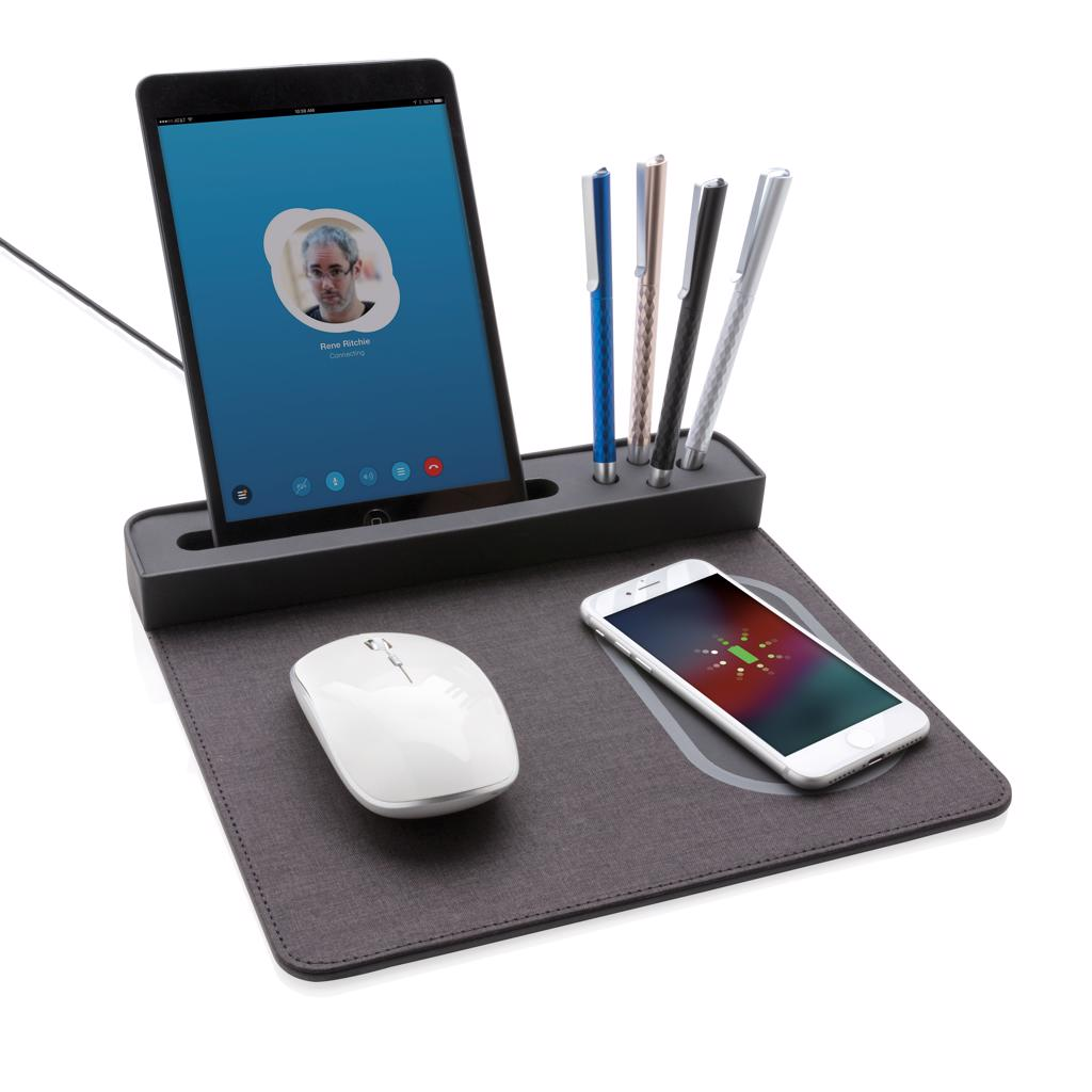 slim rectangular mousepad design with anti-slip back comes with phone stand and 4 pen stands. Including 1.5m cable. Input: 5V/1A; Output 5V/1A; Wireless output: 5V/1A 5W.