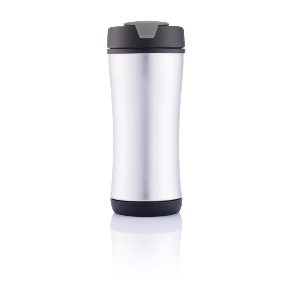 double walled travel mug for your hot or cold beverages on the go. The most surprising feature is that it's designed to be completely dismantled at the end of its life-cycle for recycling. Show your commitment by disassembling and recycling each part for a cleaner world. Registered design®