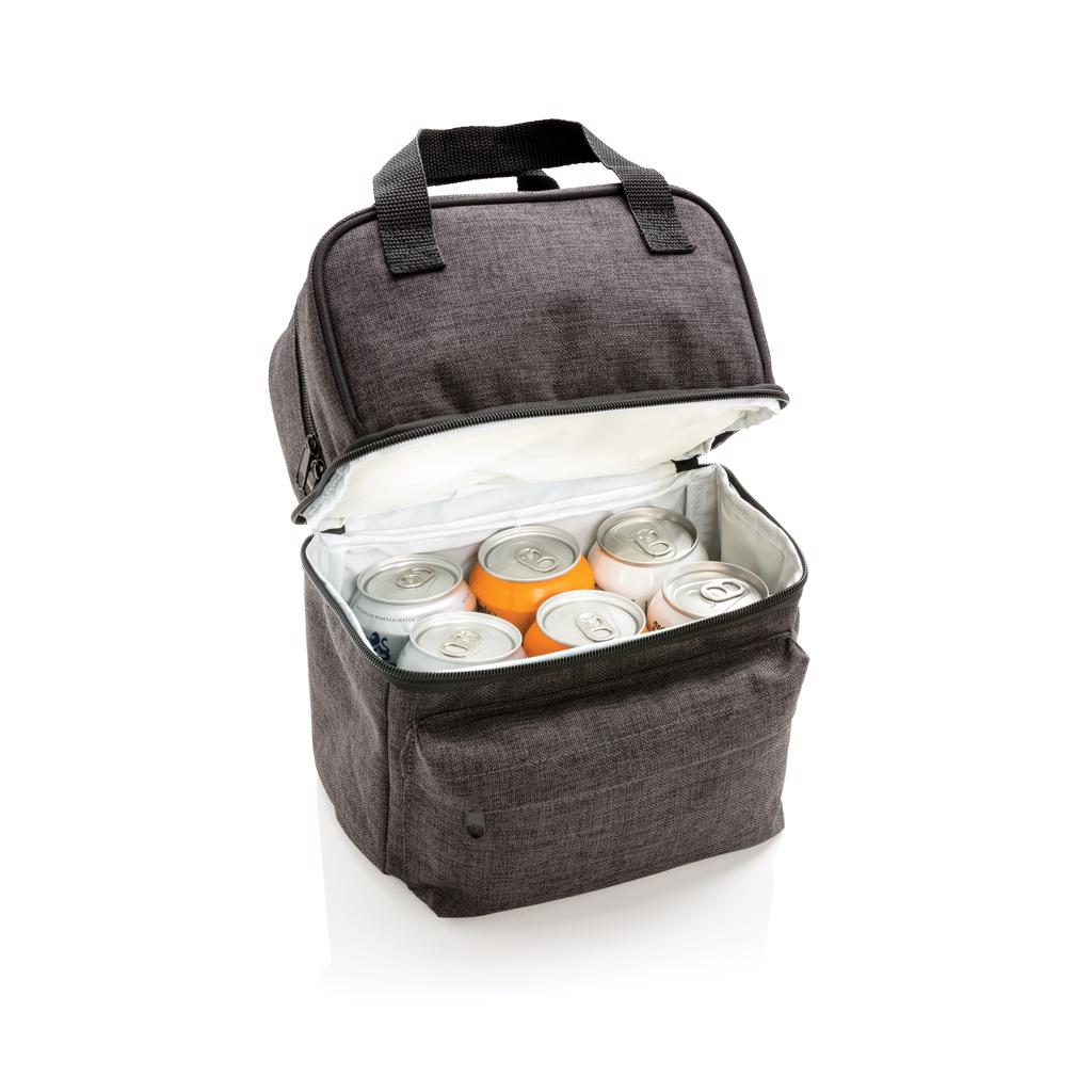 snacks or cookies. The square bottom compartment is perfect to carry up to 6 cans of drinks. Front zippered pocket is perfect for small accessories such as keys.