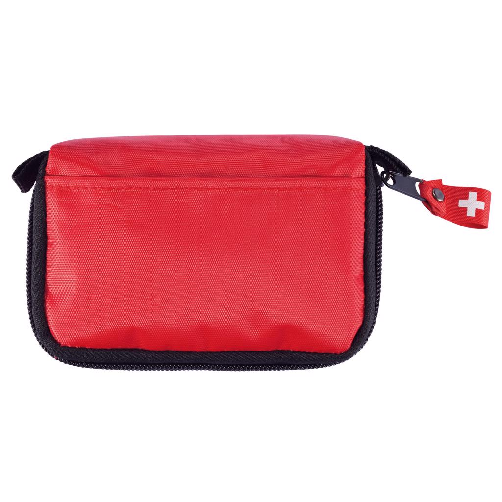 one black zipped main compartment and belt loop on reverse side of pouch. Content: triangle bandage