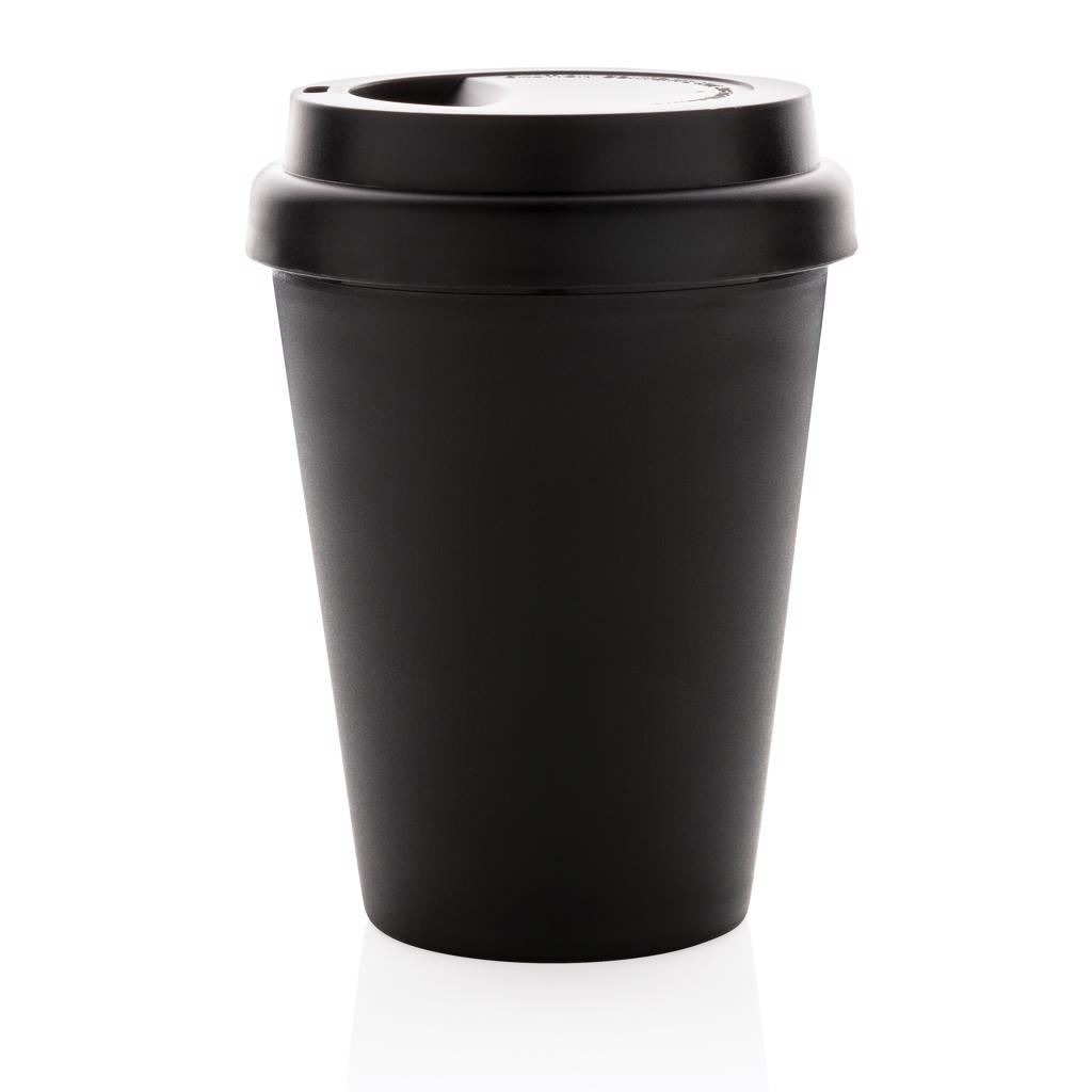 so it will keep your beverage warmer for longer for you to enjoy.  The cups are resusable and made of 100% recyclable friendly PP material. 100 degree Celsius food safe approved. The cups have a screw lid to prevent the lid from falling off while drinking. Hand wash only. Content: 300ml.