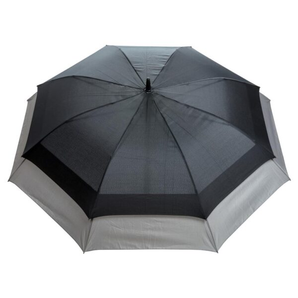 "the umbrella will automatically expand to a size of 27"". This gives you more protection and makes it suitable for 2 people. Automatic open umbrella in 190T pongee polyester with metal shaft"