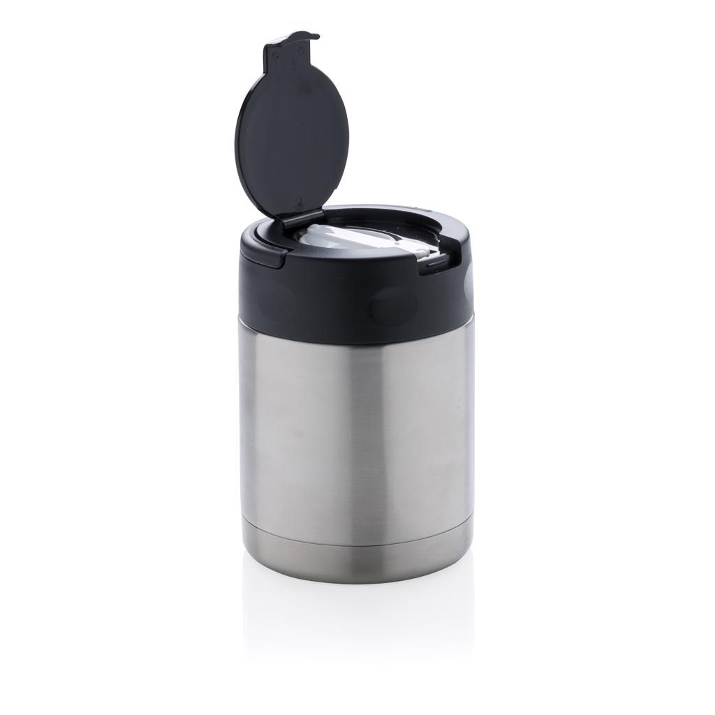 fresh and tasteful. The container is made of high quality 18/8 stainless steel and will not therefore absorb any flavours or odours. Smart lid with easy carrying handle and spoon inside. Large mouth opening lets you eat directly from the container and makes filling and cleaning easy. Hand washable and leakproof. Content 350ml.