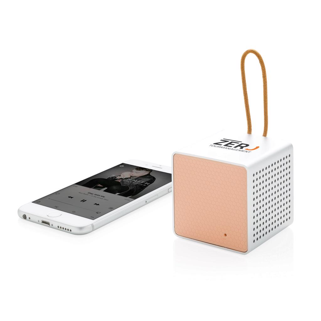 this speaker will look good anywhere. The speaker uses wireless BT 4.1 and can be used up to 10 metres away. The 500 mAh poly battery allows a play time of up to 5 hours. Also suitable to be used via audio jack cable. Including micro USB cable.  Registered design®