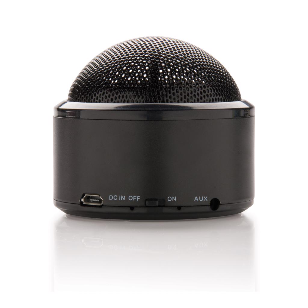 the bottom of the speaker has rubber strips for improved sound quality and grip. Playing time up to 3 hours on one single charge and connection distance up to 10 metres. Includes micro cable to charge the speaker and audio cable to connect the device to your mobile phone without wireless connection. Compatible with all mobile phones.