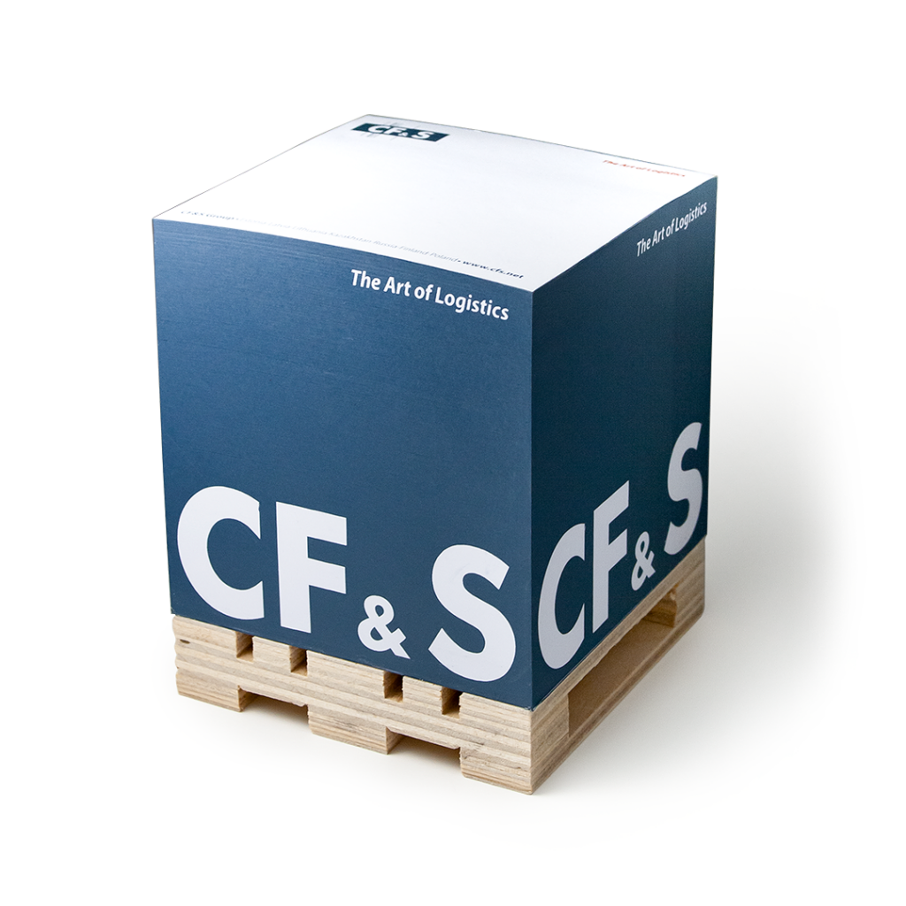 Notepad with CF&S logo on the euro base, printed on the sides and pages.