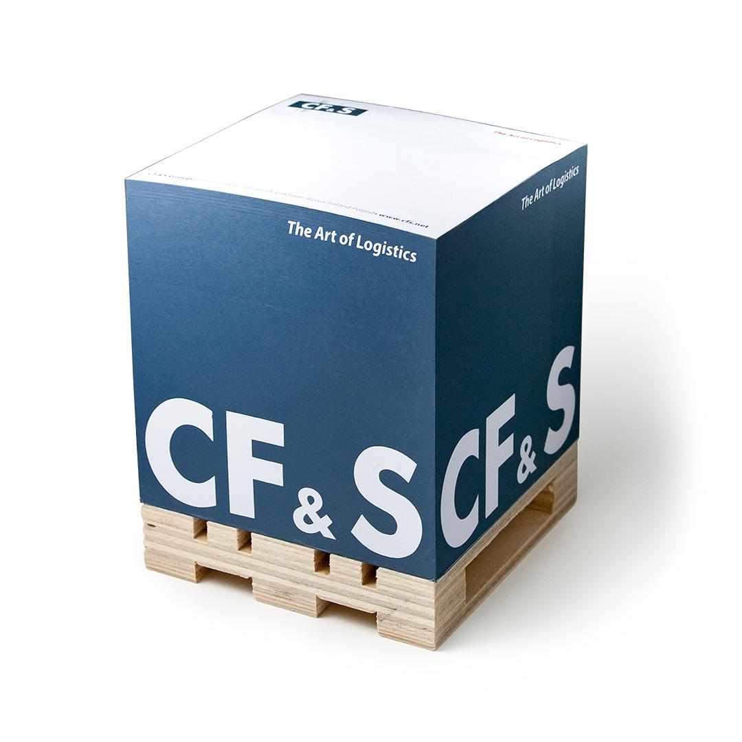 CF&S logoga märkmekuup euroalusel, trükk külgedel ja lehtedel.