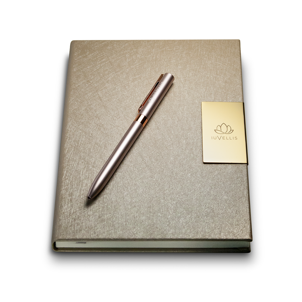Iuvell laser engraved notebook and ballpoint pen.
