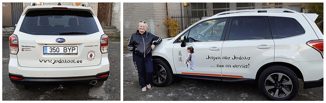Kleebisreklaam Toni Judokooli autol.