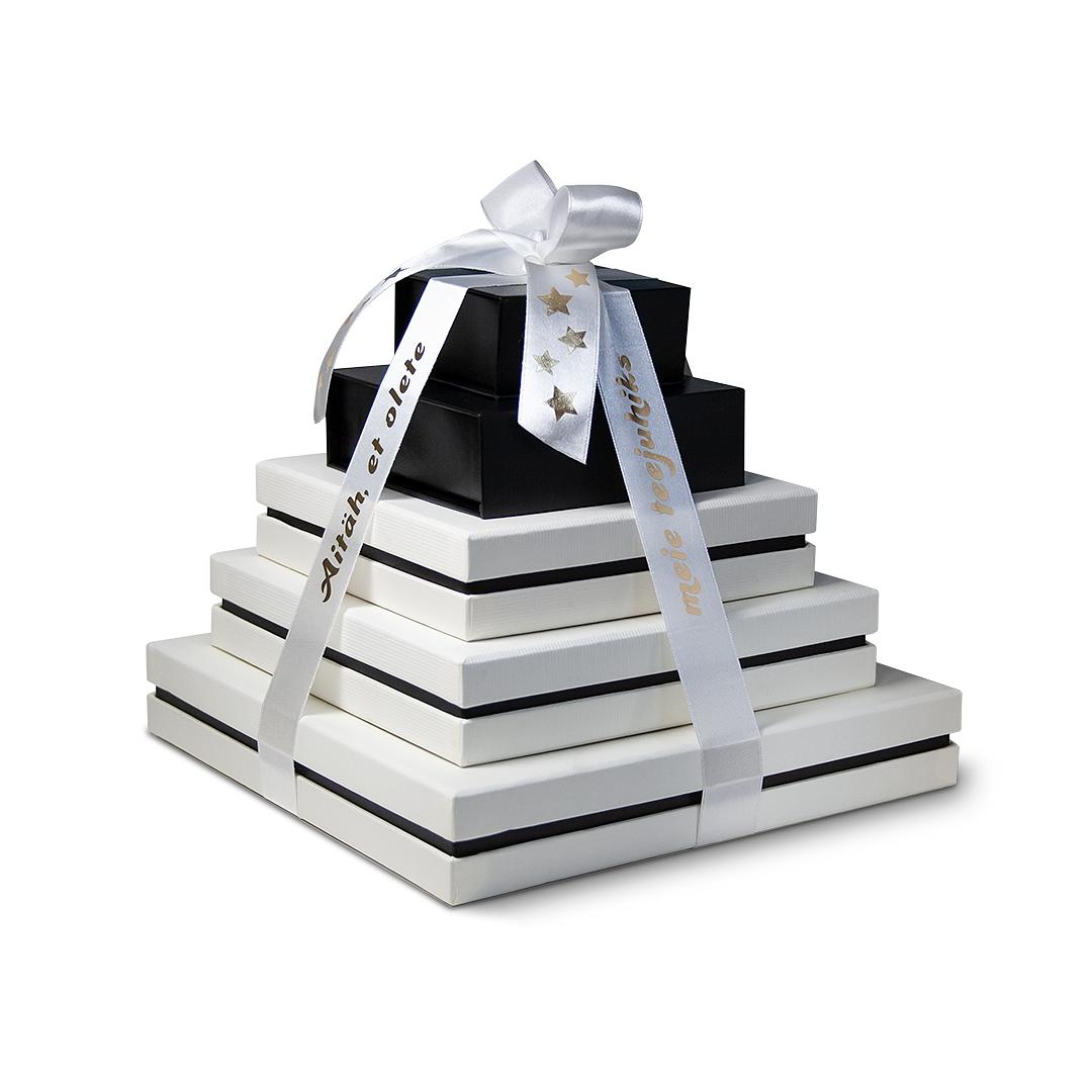 Personaalne kingitus koostööpartnerile - käsitööšokolaadid, paelal kuumpresstrükis sõnum.