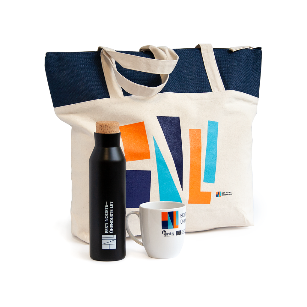 Estonian Youth Association silk-printed bag, mug and thermos.