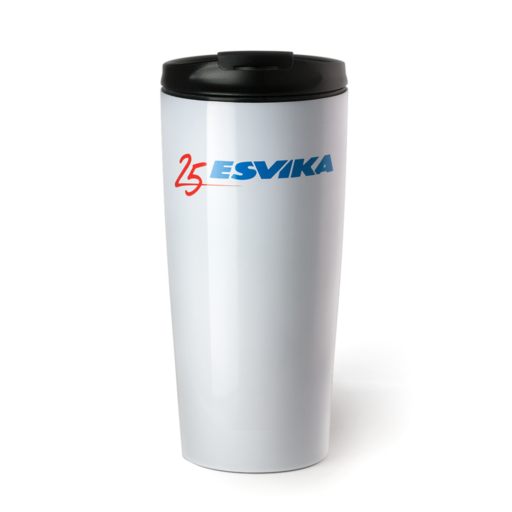 Esvika thermos with circular print.