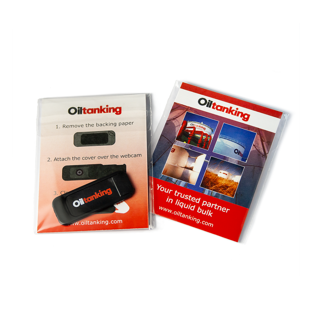 Oiltanking webcam covers with pad printing, customized user manual in the package.