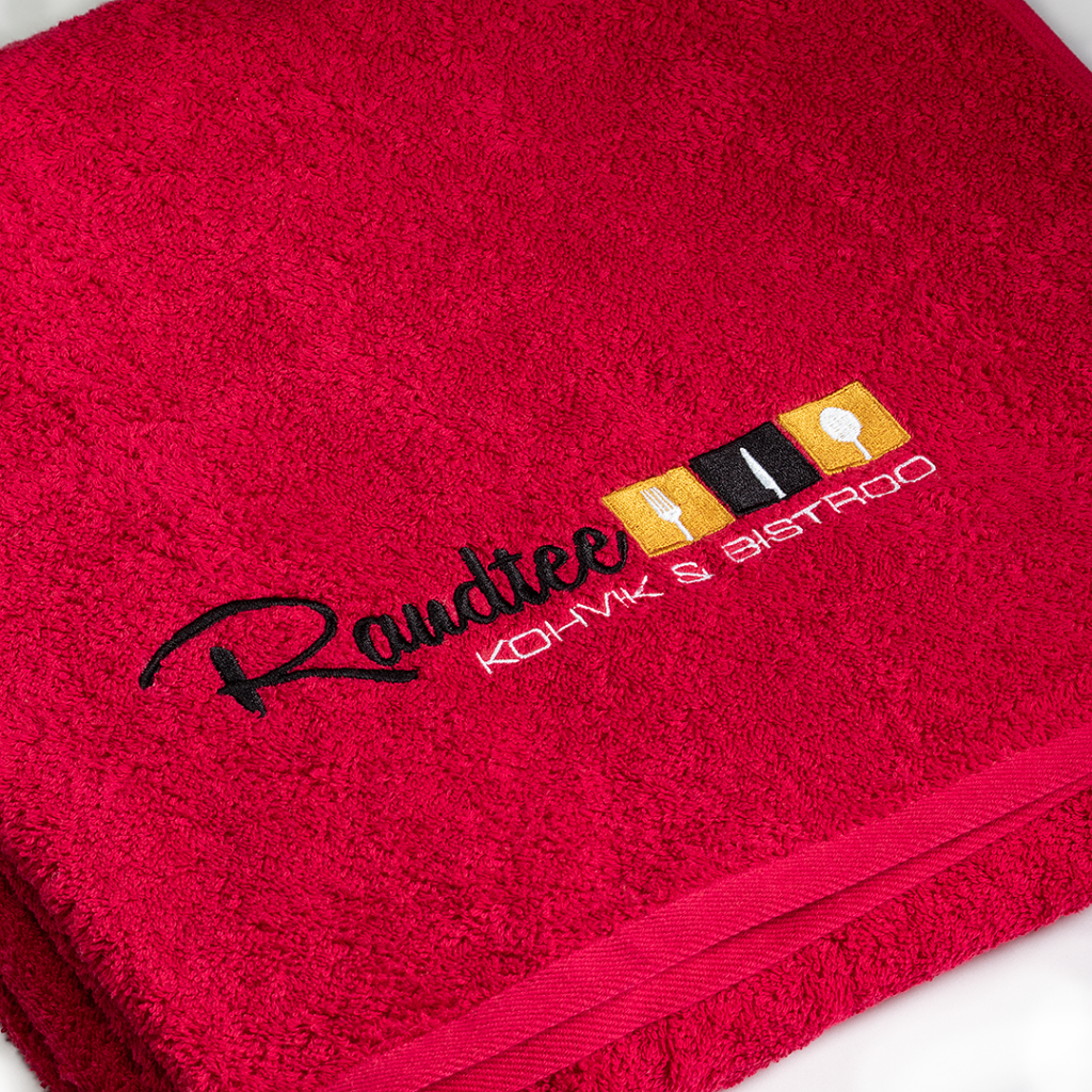 Raudtee Café & Bistro terry towel with embroidery.