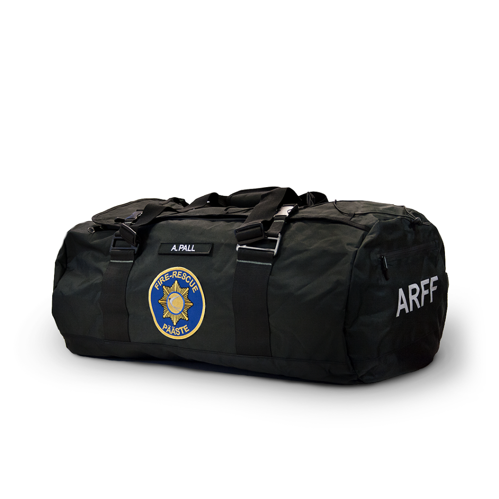Embroidered emblems and reflective print on a sports bag.