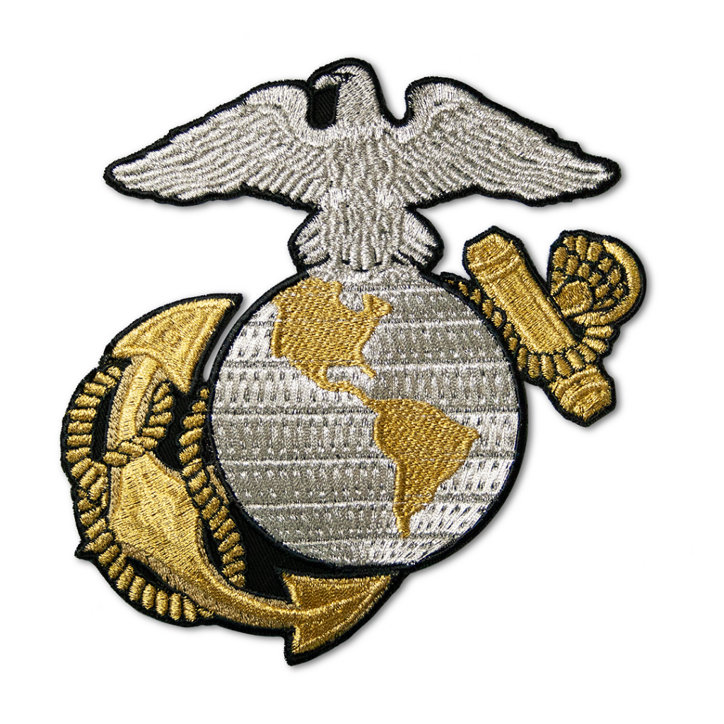 Embroidered emblem with gold and silver effect thread.